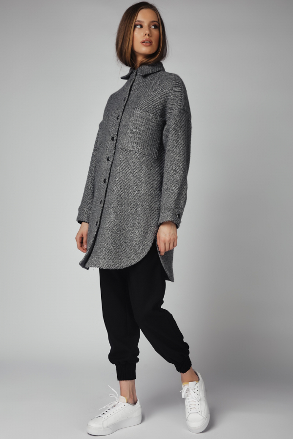 THE KNITTED CARDIGAN - GREY